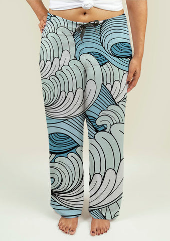 Ladies Pajama Pants with Waves - Gardennaire