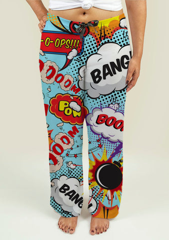 Ladies Pajama Pants with Comic Speech Bubbles - Gardennaire