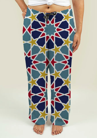 Ladies Pajama Pants with Arabesque Pattern - Gardennaire
