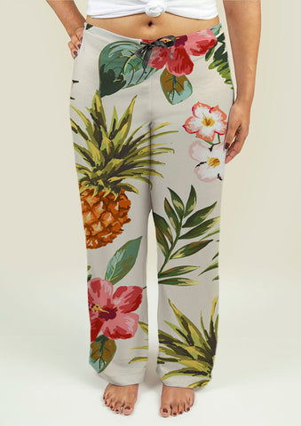 Ladies Pajama Pants with Tropical flowers with pineapple - Gardennaire