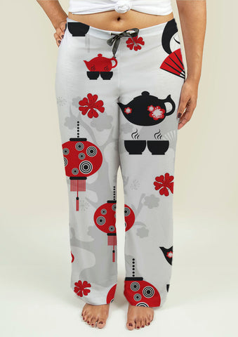 Ladies Pajama Pants with East Tea Time Pattern - Gardennaire