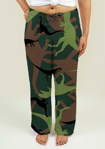 Ladies Pajama Pants with Dinosaur Camouflage - Gardennaire