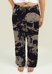 Ladies Pajama Pants with Grunge Skulls - Gardennaire