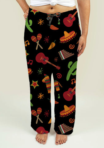 Ladies Pajama Pants with Mexican Pattern - Gardennaire