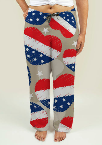 Ladies Pajama Pants with American Independence Day Pattern - Gardennaire
