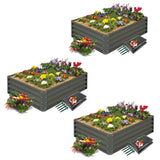 High-Grade Metal Raised Garden Bed Kit (3 ft. x 4 ft. x 1 ft.) - Elevated Planter Box with Smart Watering Mats (Grey)