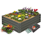 High-Grade Metal Raised Garden Bed Kit (3 ft. x 4 ft. x 1 ft.) - Elevated Planter Box for Growing Herbs, Vegetables, Greens, Strawberries, Flowers, and Much More (Beige)