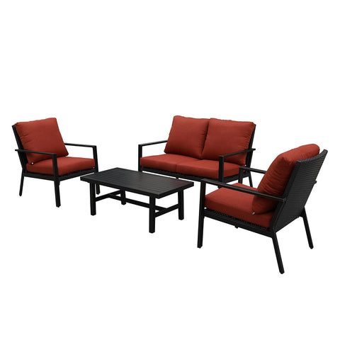 Lonestar 4 Piece Patio Sofa Set | Wicker Table and Chairs with All Weather Cushions (Red)