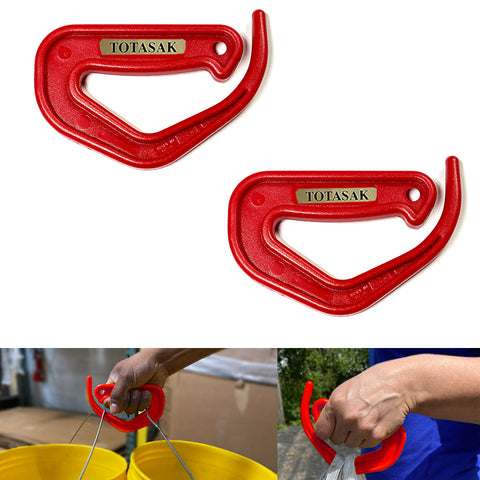 Totasak Grocery Bag Carrier (2-Pack Red) - Multiple Shopping Bag Holder Handle - Durable Lightweight Multi Purpose Secondary Handle Tool
