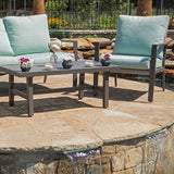 Lonestar 4 Piece Patio Sofa Set | Wicker Table and Chairs with All Weather Cushions (Seafoam)