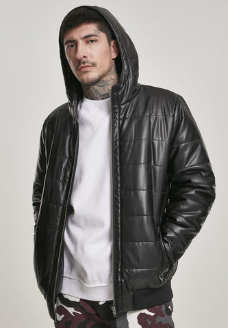 Hooded Faux Leather Bubble Jacket