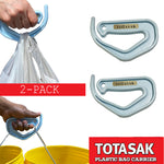 Totasak Grocery Bag Carrier (2-Pack Blue) - Multiple Shopping Bag Holder Handle - Durable Lightweight Multi Purpose Secondary Handle Tool