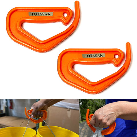 Totasak Grocery Bag Carrier (2-Pack Orange) - Multiple Shopping Bag Holder Handle - Durable Lightweight Multi Purpose Secondary Handle Tool