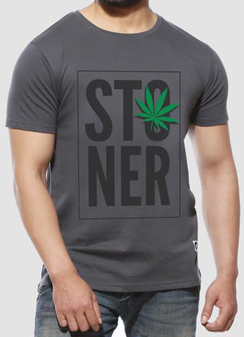 Stoner - Charcoal Grey Half Sleeve Printed T Shirt