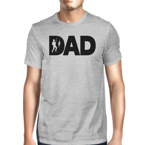 Dad Fish Mens Gray Tee Shirt Funny Design Top For