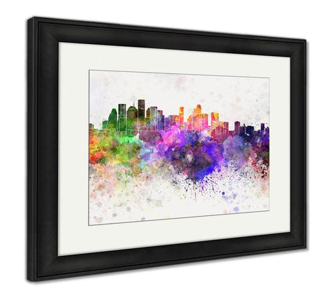 Framed Print, Houston Skyline In Watercolor - Gardennaire