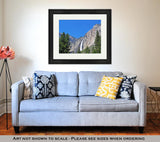 Framed Print, California View Of Yosemite Falls In Yosemite National Park - Gardennaire