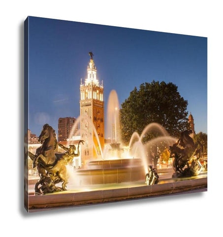 Gallery Wrapped Canvas, Kansas City Missouri Fountain At Country Club Plaza - Gardennaire