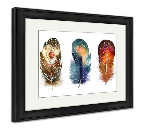 Framed Print, Hand Drawn Watercolor Feather Set Boho Style Illustration Iso - Gardennaire