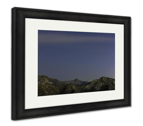 Framed Print, Night Stars Over San Gabriel Mountains - Gardennaire