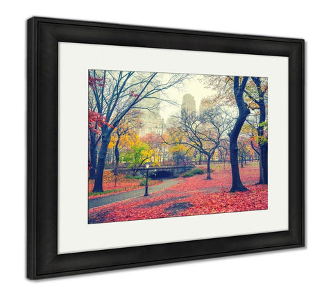 Framed Print, Central Park At Rainy Morning New York City USA - Gardennaire