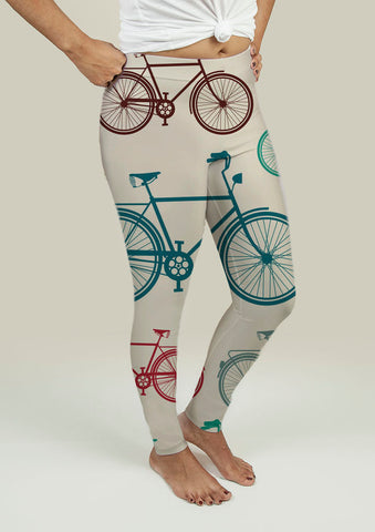 Leggings with Vintage Bicycles - Gardennaire