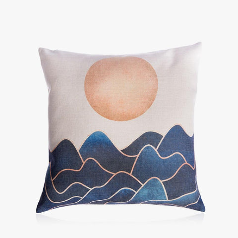 "Mountain with Sun Pillow Cover 18"" x 18"""