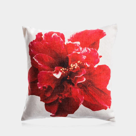 "Red Flower Pillow Cover 18"" x 18"""