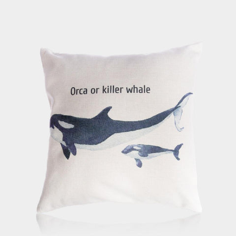 "Whale Mom and Baby Pillow Cover 18"" x 18"""