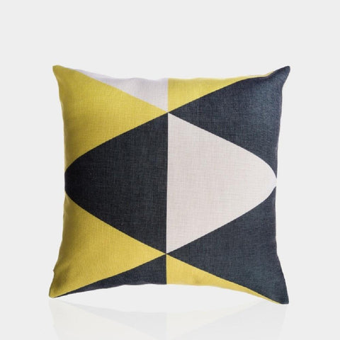 "Yellow and Gray C Pillow Cover 18"" x 18"""
