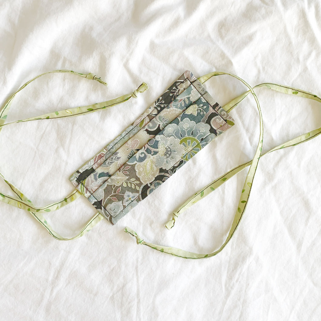 Washable Cotton Face Mask - Whimsical Floral / Green Leaves