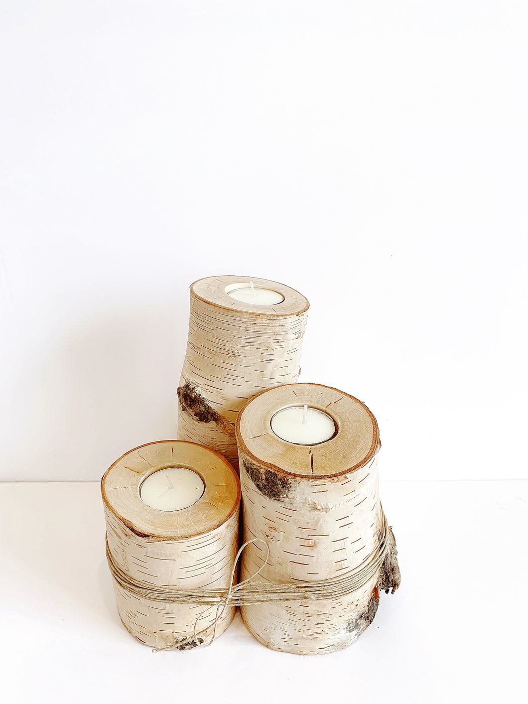 Real Birchwood Candle Holders (3 pcs)
