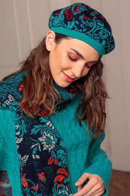 Lily of The Valley Serbian Merino Wool Scarf & Hat in Blue