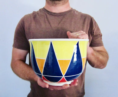 Wheel Thrown Hand Painted Porcelain Bowl