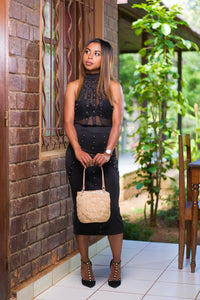 ABBIE Raffia Bucket Bag