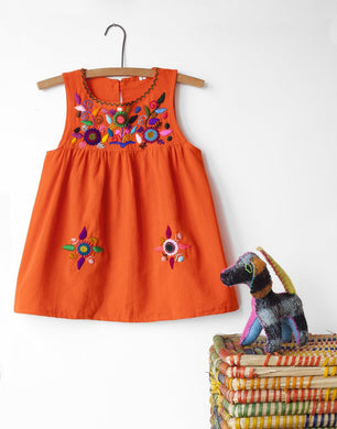Jardinita Dress | Orange | Global Trunk Kids