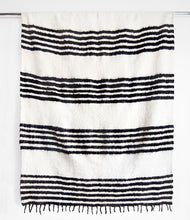Load image into Gallery viewer, MODERN MOMO BLANKET - THIN STRIPE - BLACK