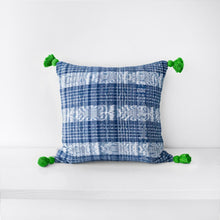 Load image into Gallery viewer, Copy of TOTO INDIGO PILLOW - GREEN TASSELS