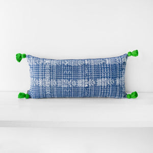 Copy of TOTO INDIGO PILLOW - GREEN TASSELS