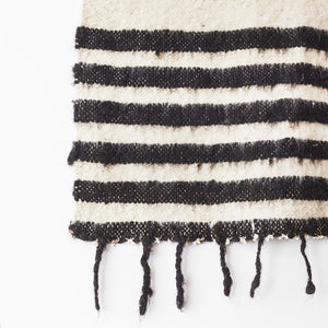Modern Momo Blanket | Thin Stripe Black