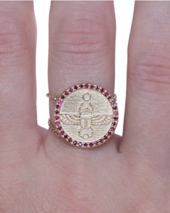 Scarab Charm Ring | Yellow Gold