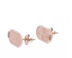 Rose Gold with Champagne Diamond Earrings