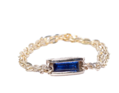 Signature Collection Sapphire Barrel Chain Ring