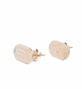 Yellow Gold with White Diamond Earrings