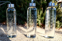 Load image into Gallery viewer, Etched Glass Water Bottled | SACRED GEOMETRY COLLECTION