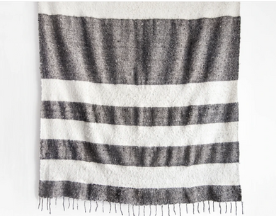 Modern Momo Blanket | Wide Stripe Grey