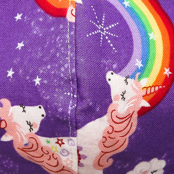 Mask-Mart Children's Designer Pattern Face Mask, 100% Cotton - Rainbow Unicorns
