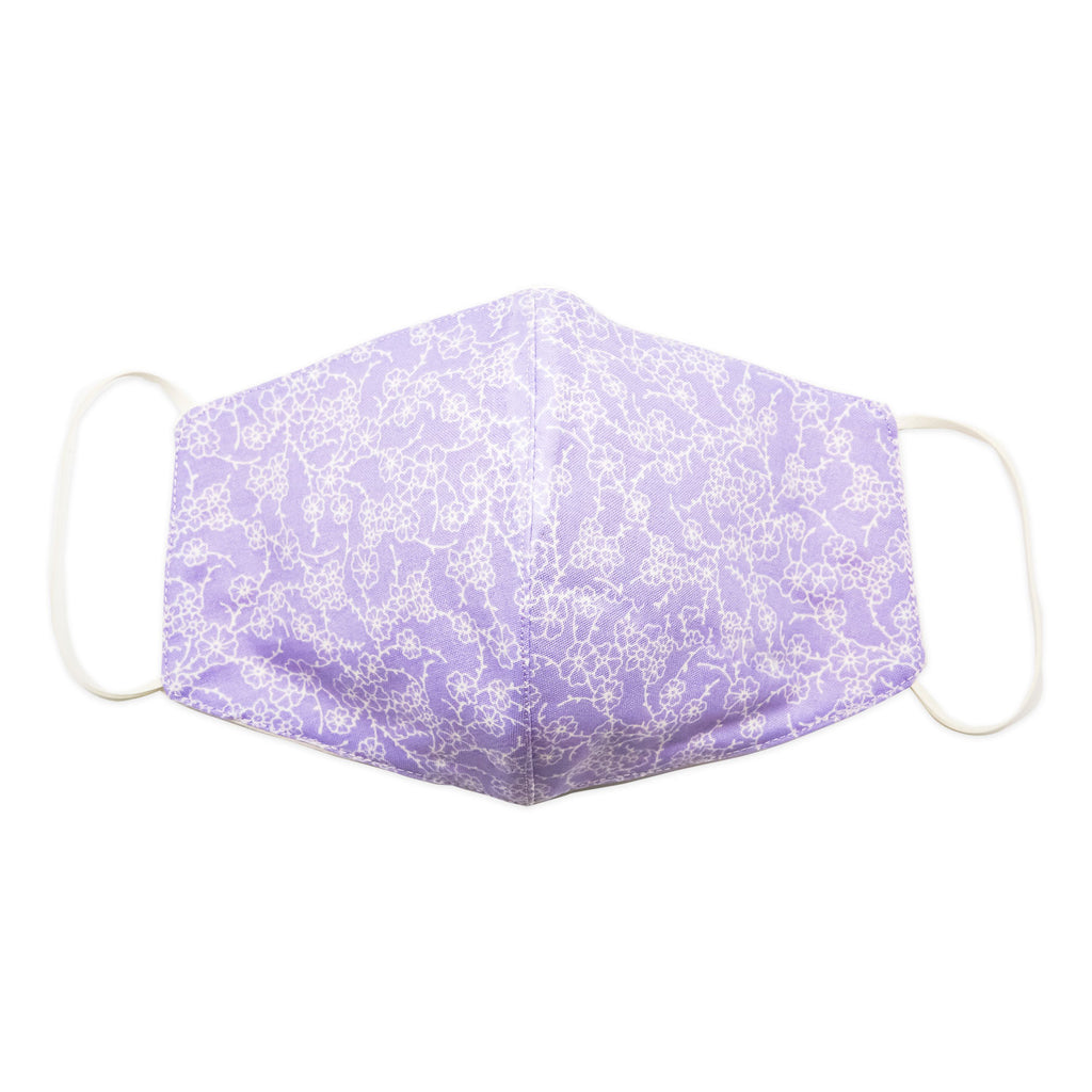 Mask-Mart Floral Pattern Face Mask, 100% Cotton - Lavender Meadow