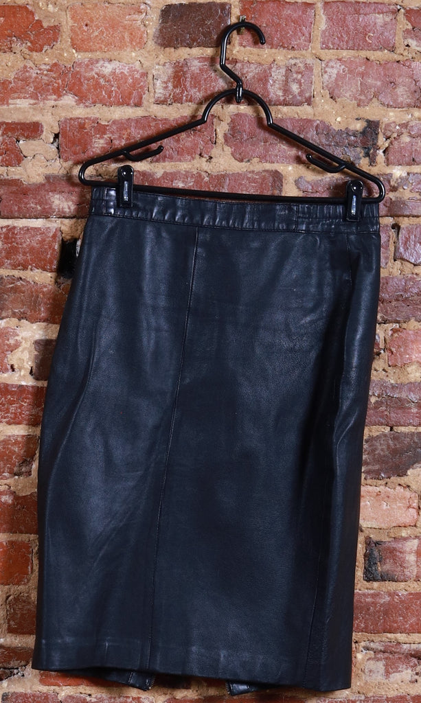 BLK Leather High Waist Skirt w/Zip