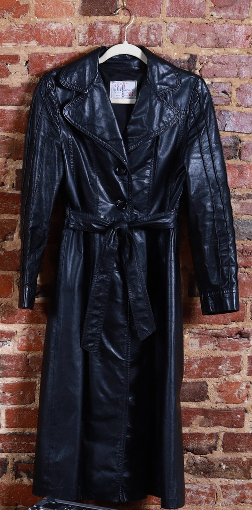 BLK Leather Trench Coat w/ Belt